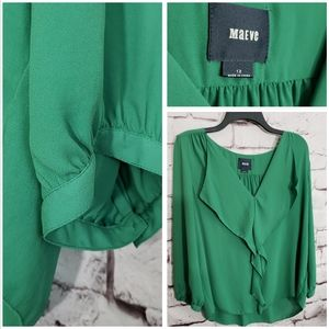 MAEVE by Anthropologie Green Blouse